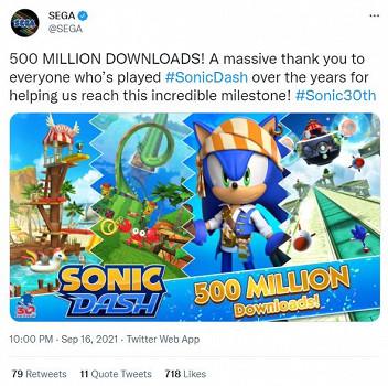 《音速小子衝刺》全球下載次數已超5億次 遊戲特殊活動開啟